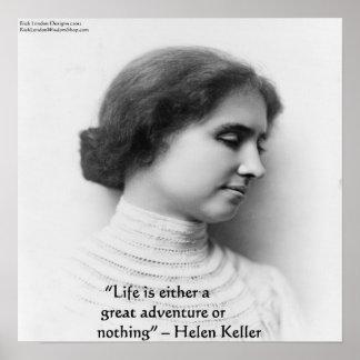 """Helen Keller """"Life Is Adventure"""" Quote Poster"""