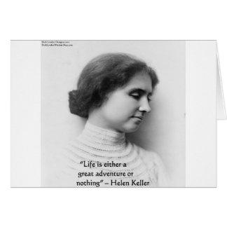 """Helen Keller """"Life Is Adventure"""" Wisdom Quote Gift Card"""