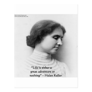 """Helen Keller """"Life Is Adventure"""" Wisdom Quote Gift Postcard"""