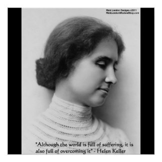 "Helen Keller ""Obstacles"" Wisdom Quote Posters"