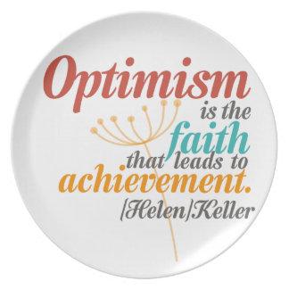 Helen Keller Optimism Quote Melamine Plate