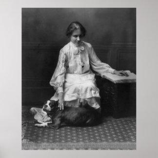 Helen Keller que lee a Braille, 1904 Póster