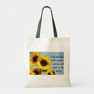Helen Keller Quote with Sunflower Budget Tote Bag