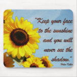 Helen Keller Quote with Sunflower Mouse Pad