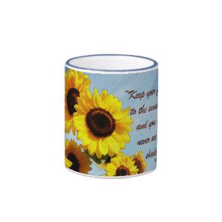 Helen Keller Quote with Sunflower Ringer Coffee Mug
