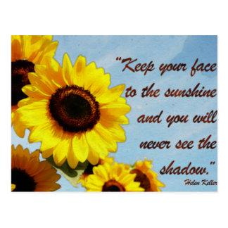Helen Keller Quote with Sunflower Postcard