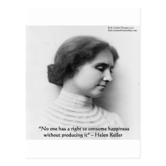 "Helen Keller ""Right 2 Happiness"" Wisdom Quote Gift Postcard"