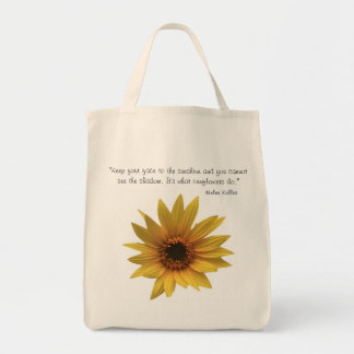 Helen Keller Sunflower Quote Tote Grocery Tote Bag