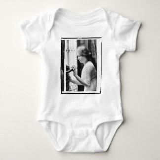 Helen Keller Watering Plants Portrait Baby Bodysuit