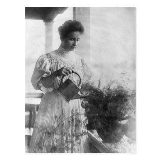 Helen Keller Watering Plants Portrait Postcard