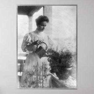 Helen Keller Watering Plants Portrait Poster