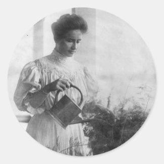 Helen Keller Watering Plants Portrait Classic Round Sticker