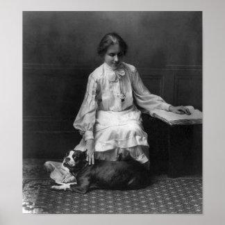 Helen Keller with Dog Poster