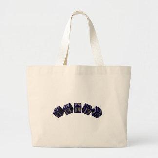 Helen toy blocks in blue jumbo tote bag