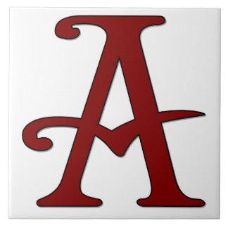 Helena Letter A in Red Monogram Tile