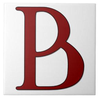 Helena Letter B in Red Monogram Tile