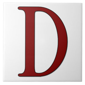 Helena Letter D in Red Monogram Tile