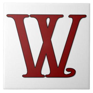 Helena Letter W in Red Monogram Tile