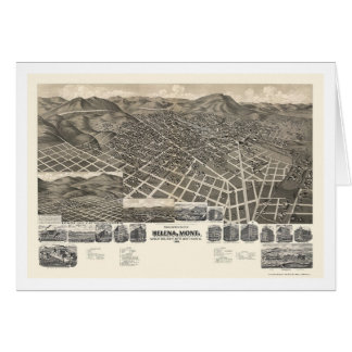 Helena, MT Panoramic Map - 1890 Greeting Cards