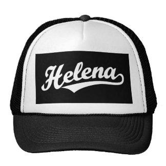 Helena script logo in white trucker hat