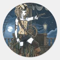 helena, pirate, pirates, gothic, ship, ocean, moon, barrels, gun, telescope, lattern, dreadlocks, sea, fantasy, art, myka, jelina, oceans, Sticker with custom graphic design