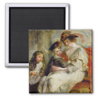 Helene Fourment  with Two of her Children 2 Inch Square Magnet