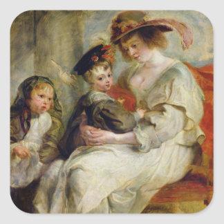 Helene Fourment  with Two of her Children Square Sticker