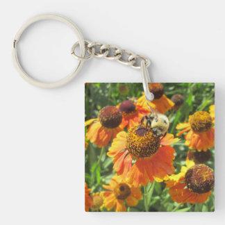 Helenium Bee Orange Flower Keychain