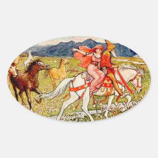 Helga Chooses Her Horse Oval Sticker