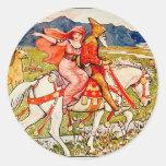 Helga elige su caballo pegatina redonda