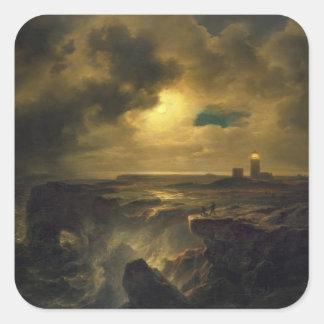 Helgoland en claro de luna, 1851 pegatina cuadrada