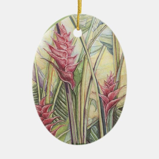 Heliconia Bush Ceramic Ornament