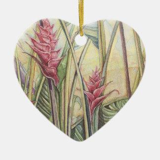 Heliconia Bush Ceramic Ornament