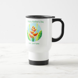 Heliconia Flower Batik Mother's DaySteel TravelMug Mugs