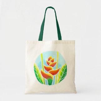 Heliconia Tropical Flower Batik Tote Bag
