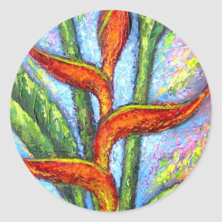 Heliconia Tropical Flower Painting - Multi Classic Round Sticker