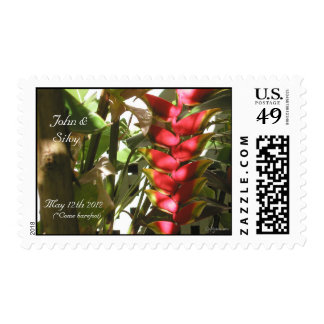 Heliconia Tropical Wedding Flowers Custom Stamps
