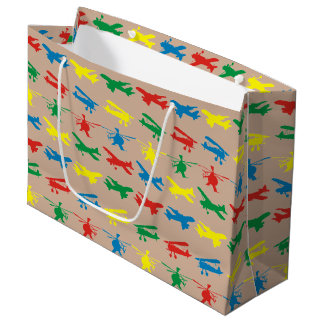 Helicopter Airplanes Aviation Pattern Large Gift Bag