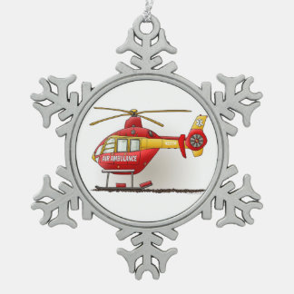 Helicopter Ambulance Snowflake Pewter Christmas Ornament