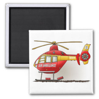 Helicopter Ambulance Square Magnet