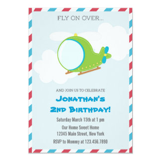 Helicopter Birthday Party Invitation