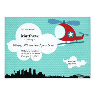 Helicopter Birthday theme (Blue) 5x7 Paper Invitation Card