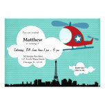 Helicopter Birthday theme (Blue) Personalized Announcements