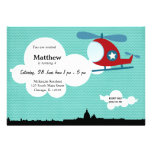 Helicopter Birthday theme (Blue) Personalized Invites