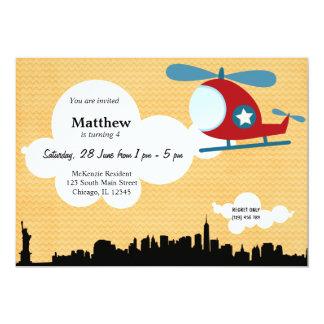 Helicopter Birthday theme (Orange) 5x7 Paper Invitation Card