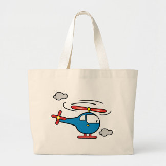 Helicopter Blue an Red Large Tote Bag