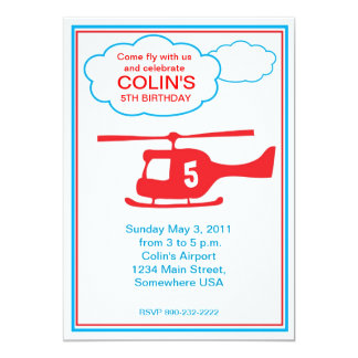 helicopter Boy Birthday Party Invitation