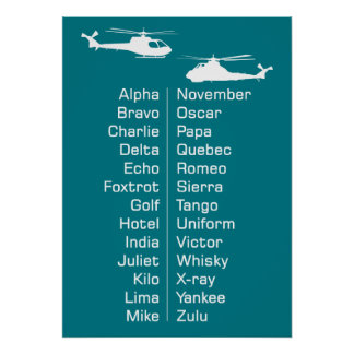 Helicopter Chopper Phonetic Spelling Alphabet Poster