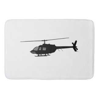 Helicopter Chopper Silhouette Customize Color Bathroom Mat