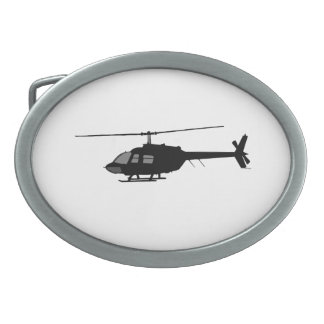 Helicopter Chopper Silhouette Customize Color Oval Belt Buckle